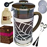 Cofina French Coffee Press Bundle   34 oz French Press Coffee Maker   with Extra Thick Borosilicate Glass Carafe   4 Stage Stainless Steel Filtration   Perfect as Cold Brew Coffee Maker & Tea Maker