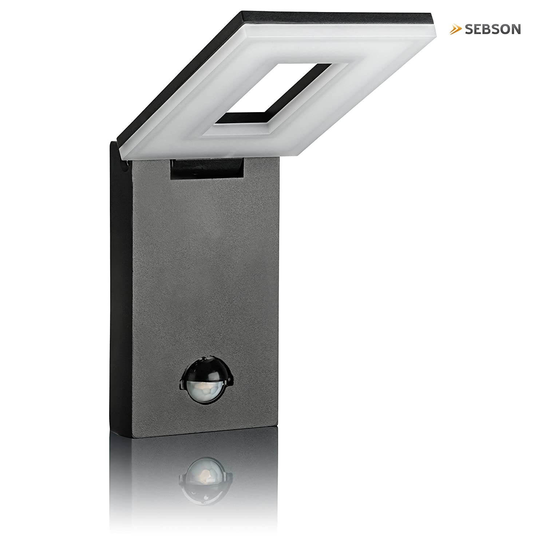 SEBSON LED Lámpara de exterior con sensor movimiento, lámpara de pared, Negro, Aluminio, 10W, 650lm, 6500K, orientable, IP54, 298x100x26mm: Amazon.es: ...