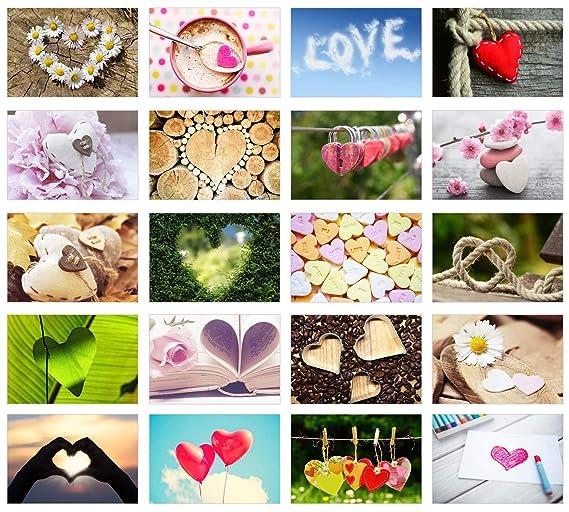 Edition Seidel Set 20 Premium Postkarten zur Hochzeit - Hochzeitsgeschenk - Liebe + Herzen – Dekoidee – Valentinstag - Geburt