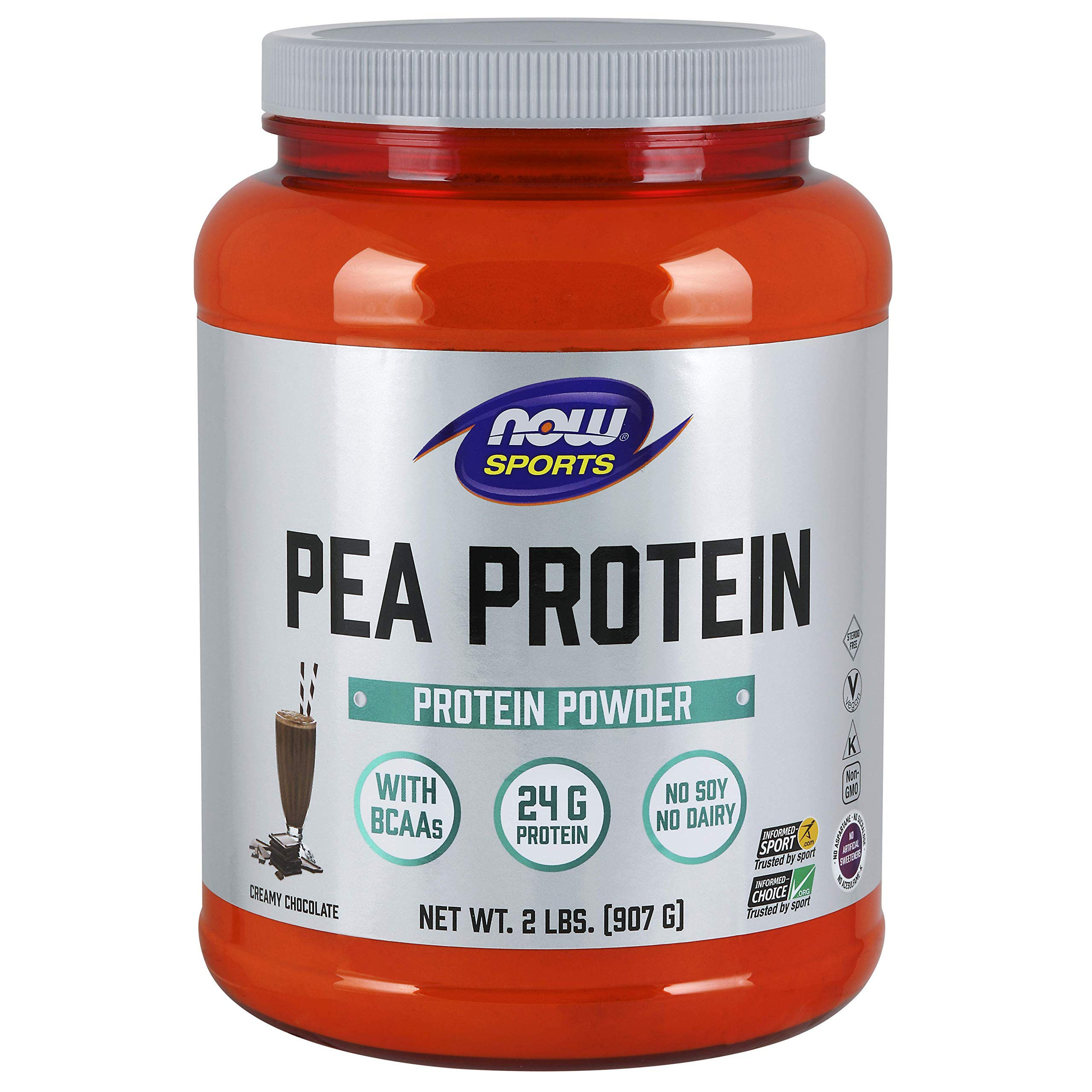 NOW Sports Nutrition, Pea Protein Powder, Creamy Chocolate, 2-Pound by NOW Foods