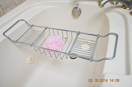 Amazon.com: Valsan Essentials Solid Brass Adjustable Bathtub Rack ...