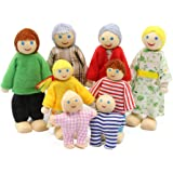 PUCKWAY Lovely Happy Dollhouse Dolls Family Set of 8 Wooden Figures Little People for Children House Pretend Gift