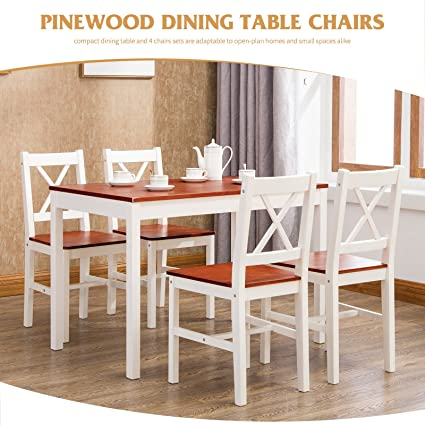 Amazon.com - Mecor 5 Piece Dining Table Set, 4 Wood Chairs Kitchen ...