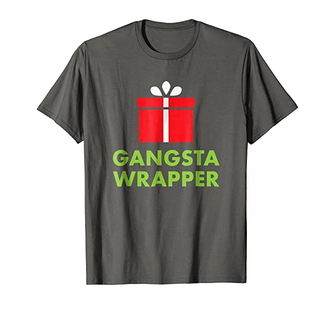 6257995523 Mens Gangsta Wrapper | Funny Christmas Present T-Shirt for Adults 2XL  Asphalt