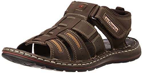 b2ca2a17473545 Lee Cooper Men s Brown Leather Sandals and Floaters - 10 UK  Buy ...