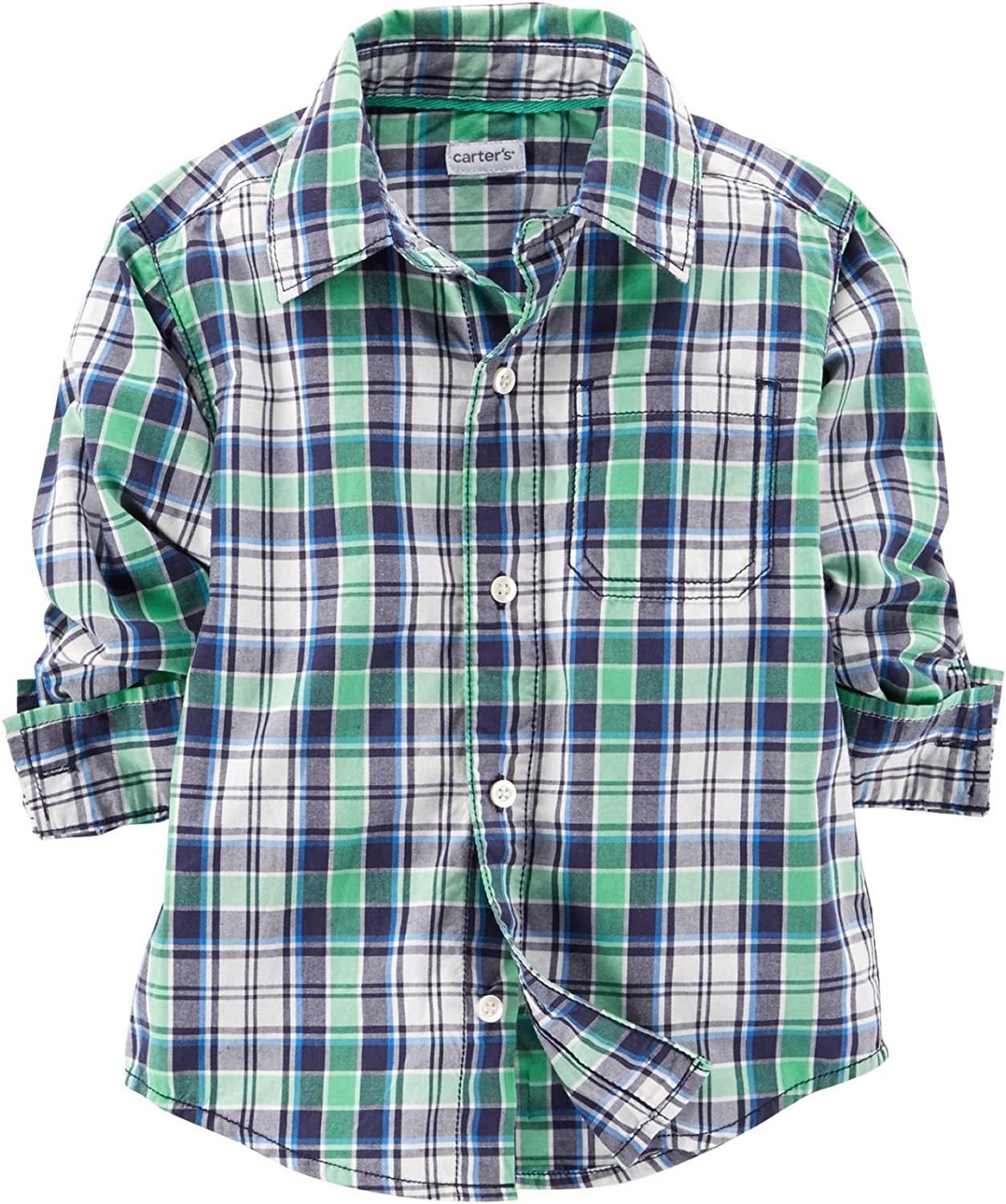Baby Boys Shirt Blue Plaid and Button Down