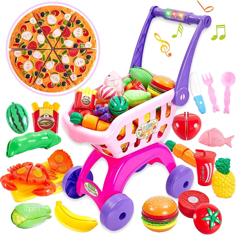 Buyger 31 Piezas Juguete de Supermercado Carrito de Compras Frutas Verduras Alimentos Juguete para Niños Niñas 3 Años