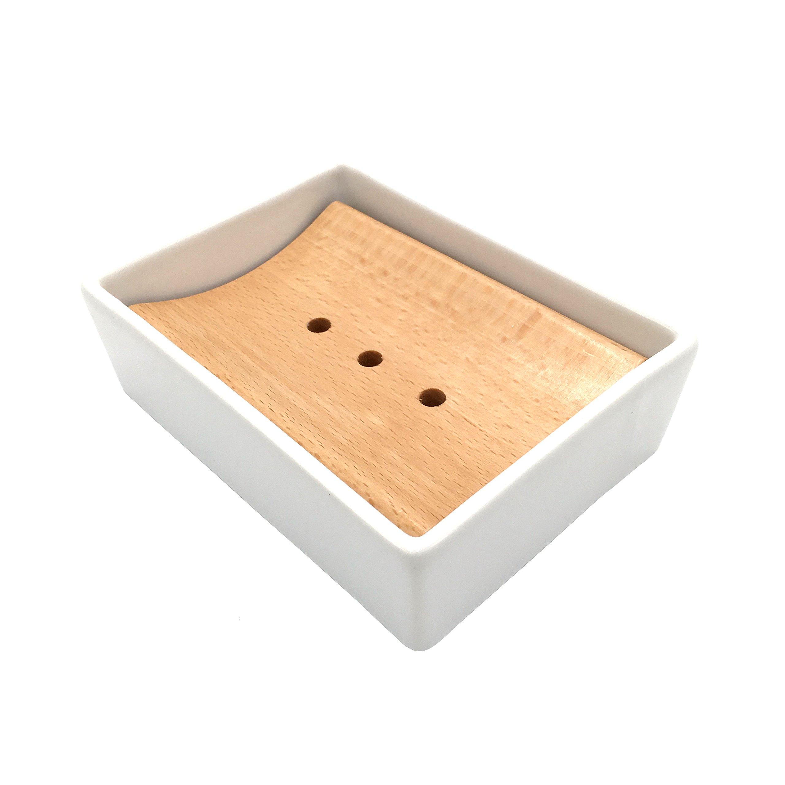 Lofekea Ceramic Soap Dish Soap Holder for Bathroom and Shower Double Layer Draining Soap Box (Wood) by Lofekea