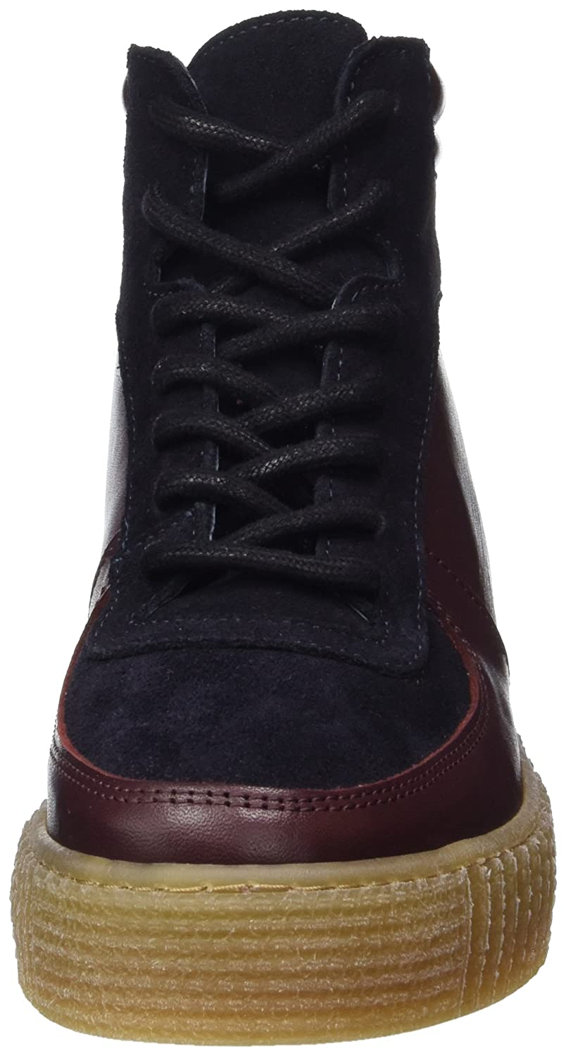 Pieces Pspaloma Leather Sneaker Port Royale, Baskets Montantes Femmes, Rouge (Port Royale), 37 EU