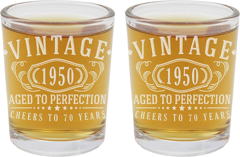 Vasos de chupito vintage 1950 grabados de 2.5 onzas – 70 cumpleaños envejecido a la perfección – 70 años de edad regalos