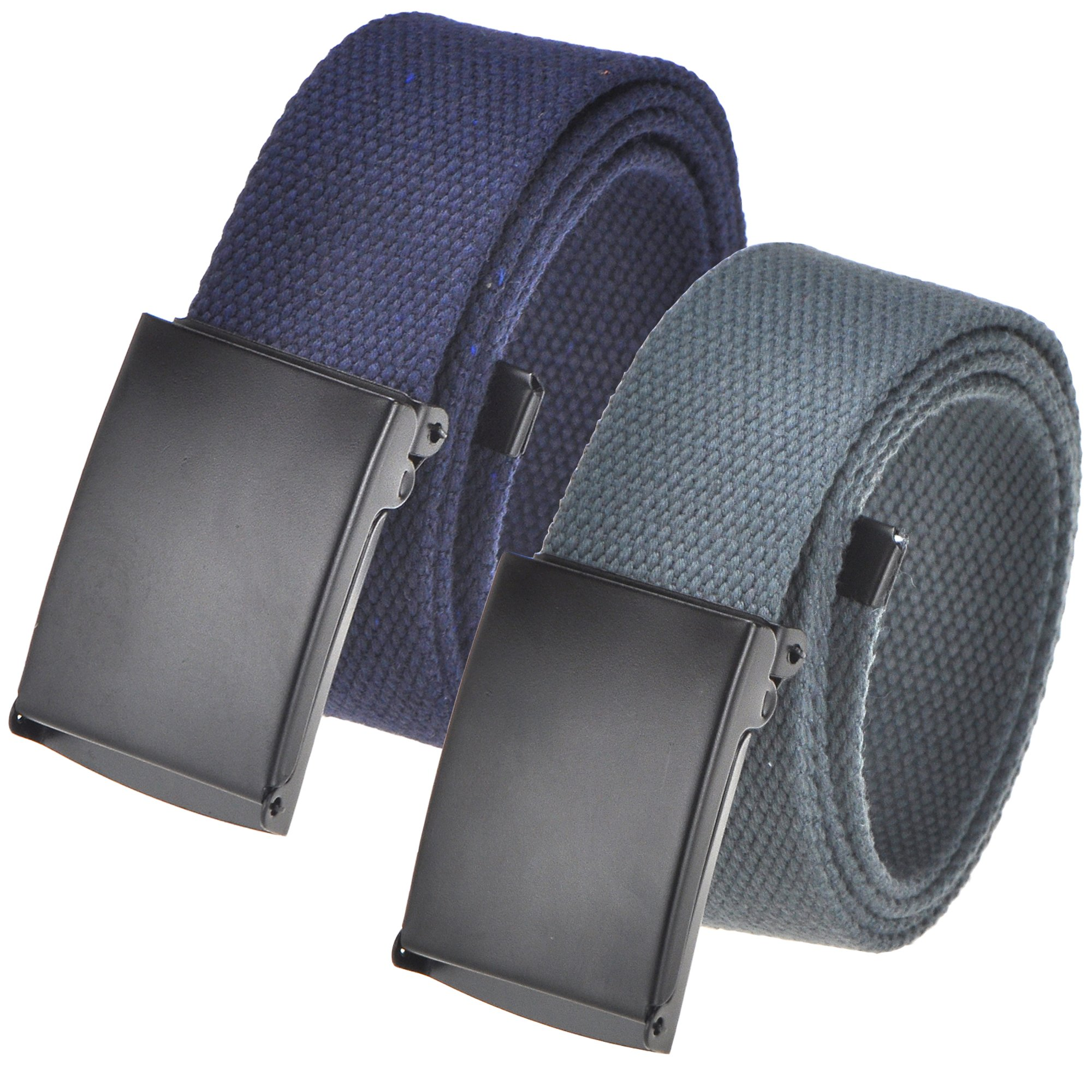 Cut To Fit Canvas Web Belt Size Up to 52'' with Flip-Top Solid Black Military Buckle (16 Color and Combo Pack Options) (2 Pack Navy/Dark Grey)
