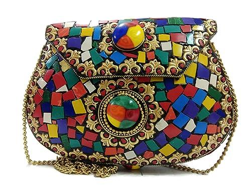 Trend Vintage Estilo Negro Hecho a mano de metal Mosaico piedra monedero embrague eslinga Bolsas para las mujeres vintage cartera para las mujeres: ...
