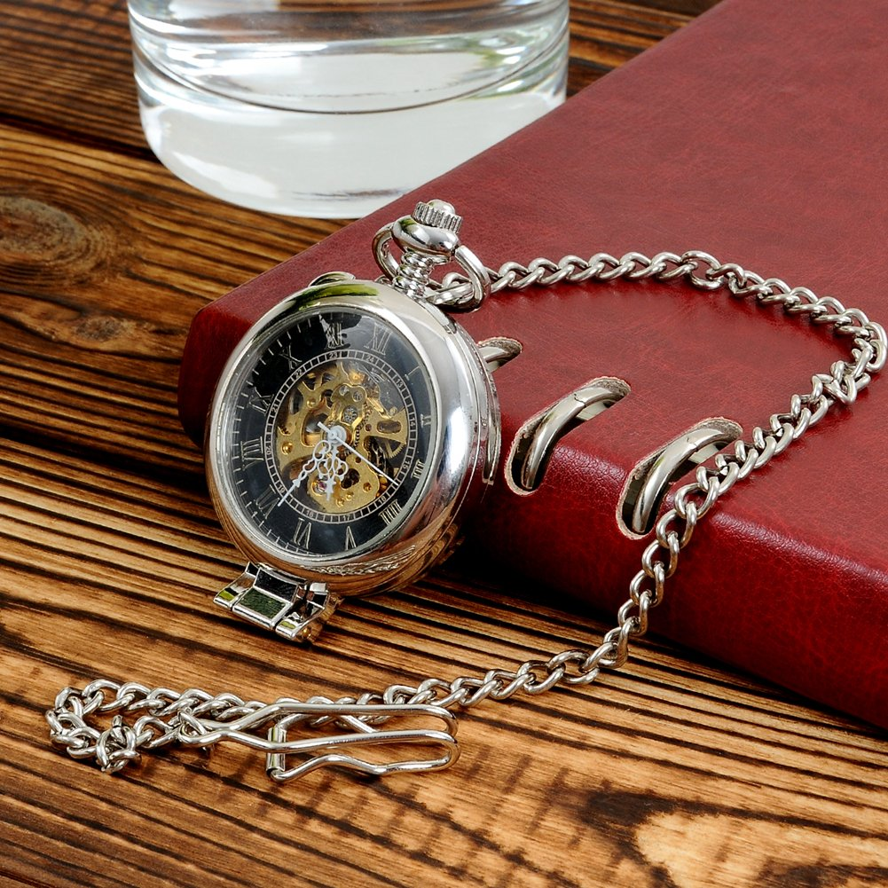 Steampunk Silver Skeleton Men Women Kids Metal Mechanical Pocket Watch by Top Fashion Watches (Image #3)