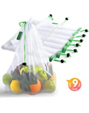 Reusable Produce Bags, Lavinrose Reusable Mesh Produce Bags with Drawstring & Tare Weight Tags, Durable Overlock-Stitched Strength, See-Through & Washable Storage Bags, Set of 9 Large