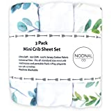 NODNAL CO. Leafy Pack n Play Playard Portable Mini Crib Fitted Sheets Set 3 Pack 100% Jersey Knit Cotton Pack and Play Baby G