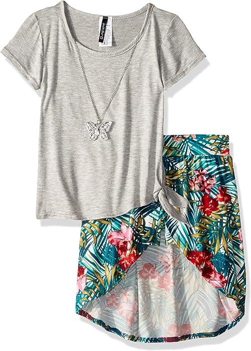 b6aba573ca40 Amazon.com  Instagirl Girls  Little Knit Top and Romper Skirt Set ...