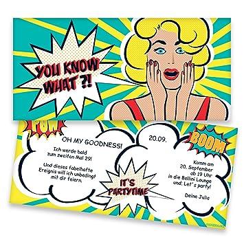 Einladungskarten Zum Geburtstag Im Retro Comic Style 40 Stuck