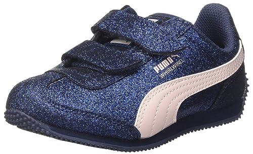 Puma Whirlwind Glitz V PS Baby Trainers Sneaker For Girls blu, Numero di Scarpe:EUR 19