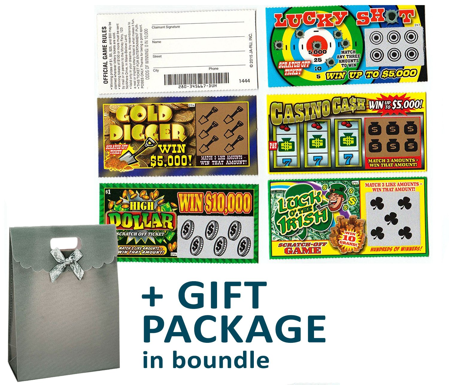 JA-RU Jokes and Gags Fake Lottery Tickets Party Favor Bundle Pack
