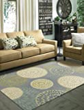 Mohawk Home Aurora Foliage Friends Garden Floral Medallions Printed Area Rug, 5'x8', Grey