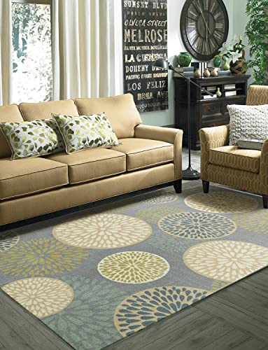 Mohawk Home Aurora Foliage Friends Garden Floral Medallions Printed Area Rug, 5 x8 , Grey