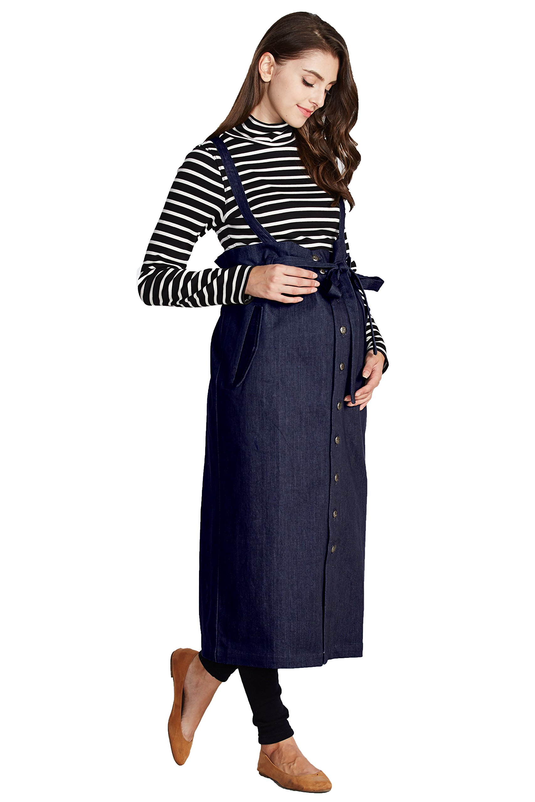 Sweet Mommy Maternity Maxi Jeans Skirt With Suspenders Straps (F, Navy)