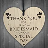 Red Ocean Thank You For Being A Bridesmaid Wooden Hanging Heart Wedding Plaque Gift Sign