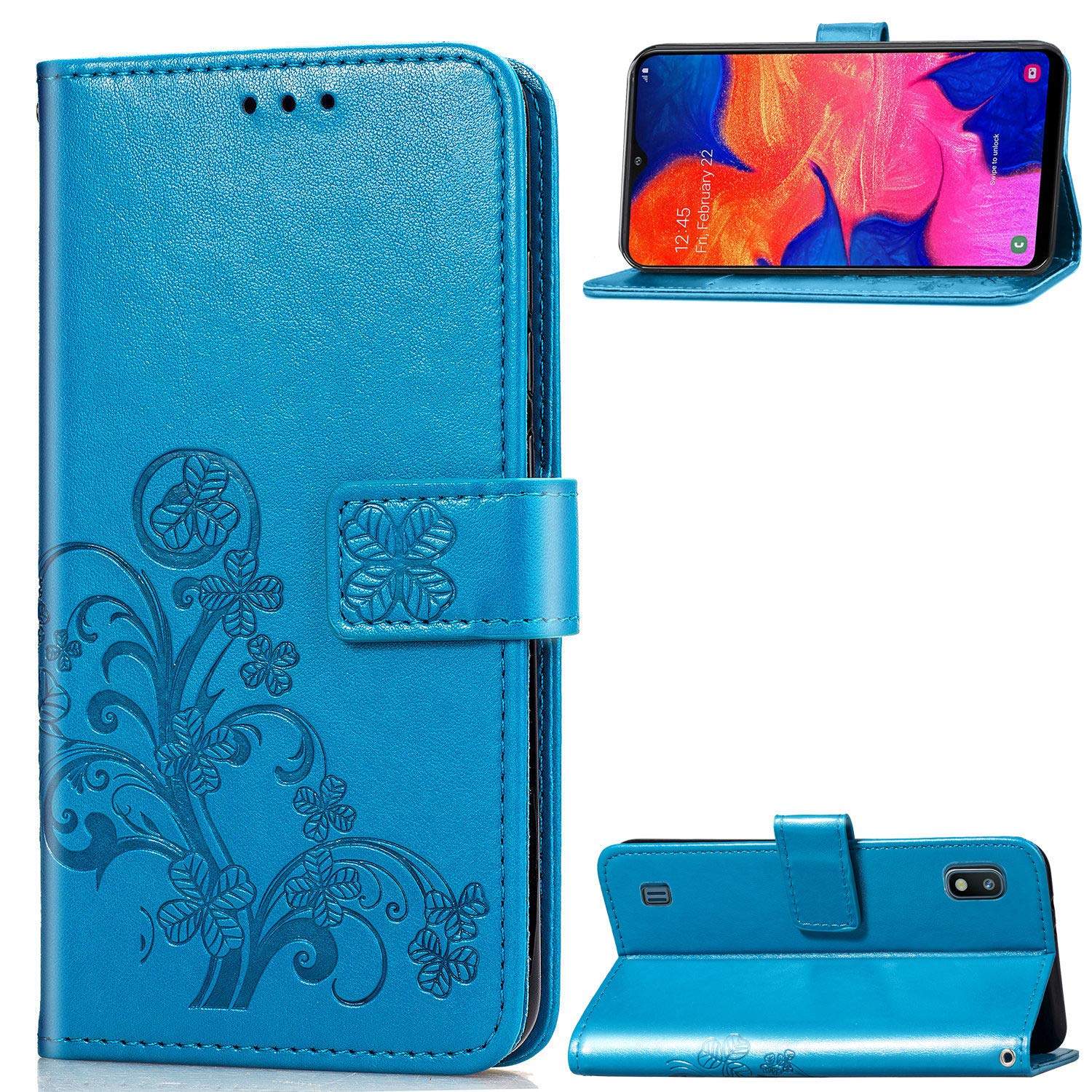 UCMDA Case for Samsung Galaxy A10, Flip Leather Samsung A10 Phone Wallet Case with [Magnetic Closure] [Kickstand] [Card Slot] for Samsung A10-Blue