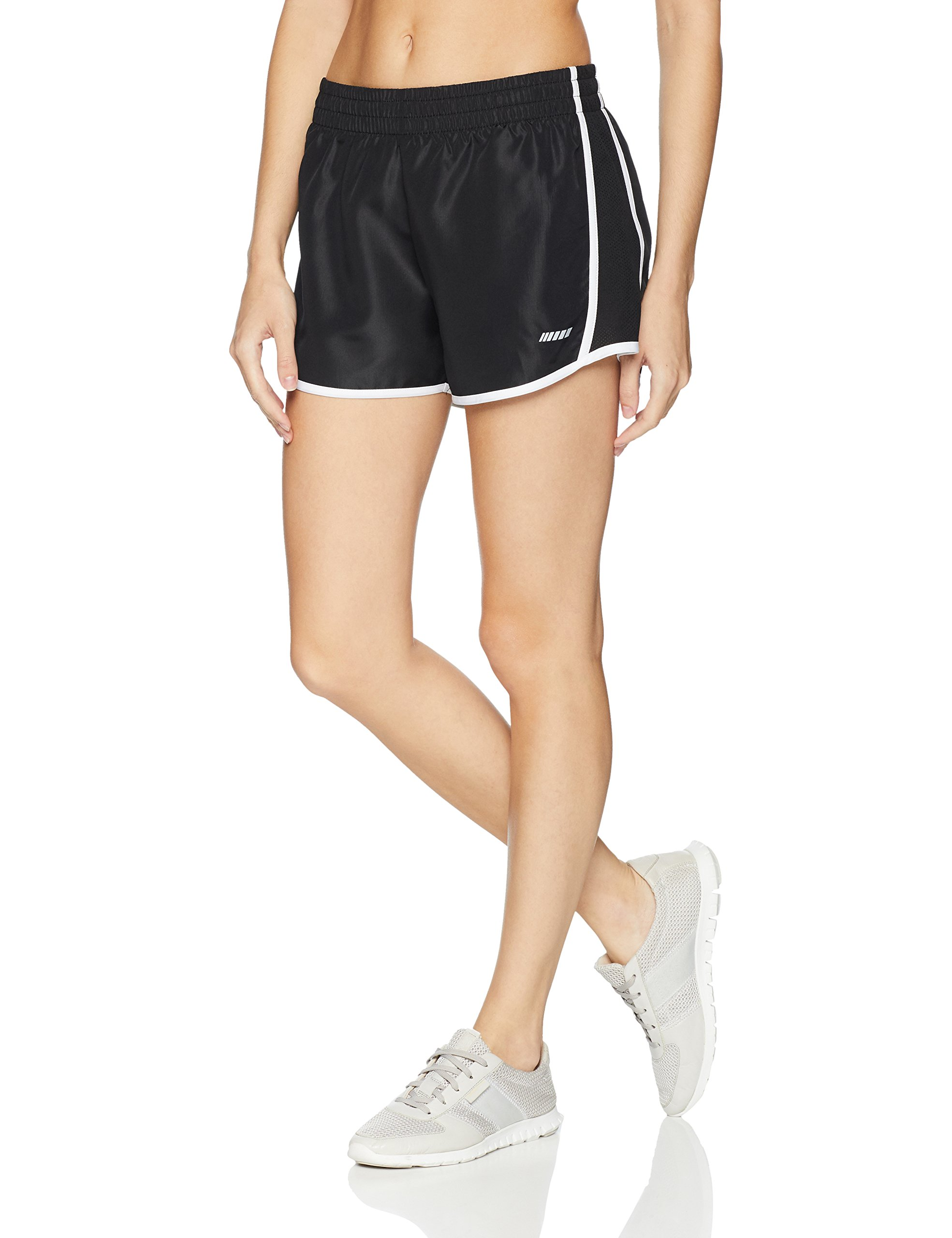Amazon Essentials Women's Standard Woven Run Short, Black/White, XX-Large