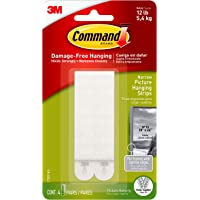 Command 17207 Narrow Picture Hanging Strips White 4 Pairs