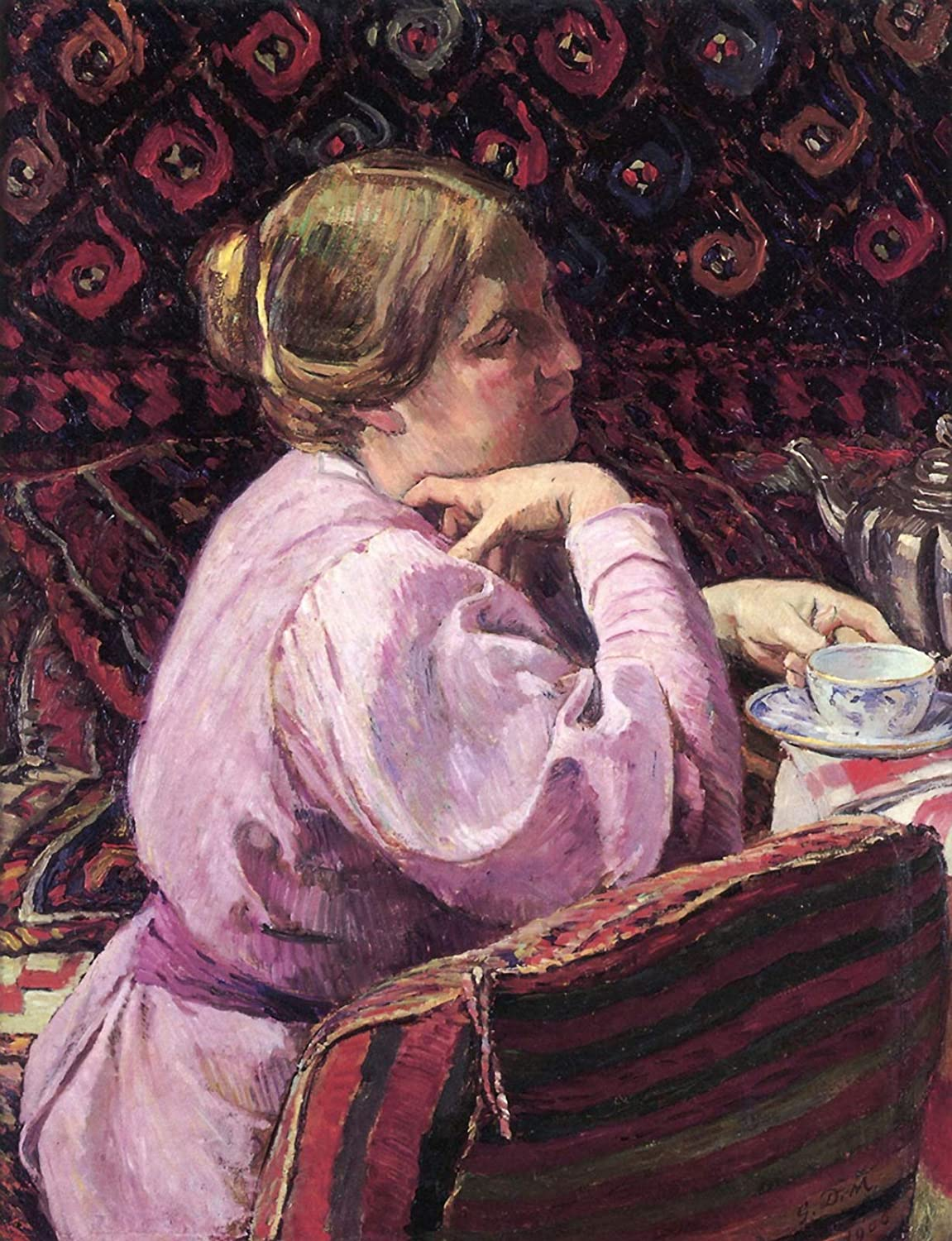 """Amazon.com: Georges-Daniel de Monfreid Portrait of The Wife of The Artist  with a Cup of Tea 1906 Private Collection 30"""" x 23"""" Fine Art Giclee Canvas  Print (Unframed) Reproduction: Posters & Prints"""
