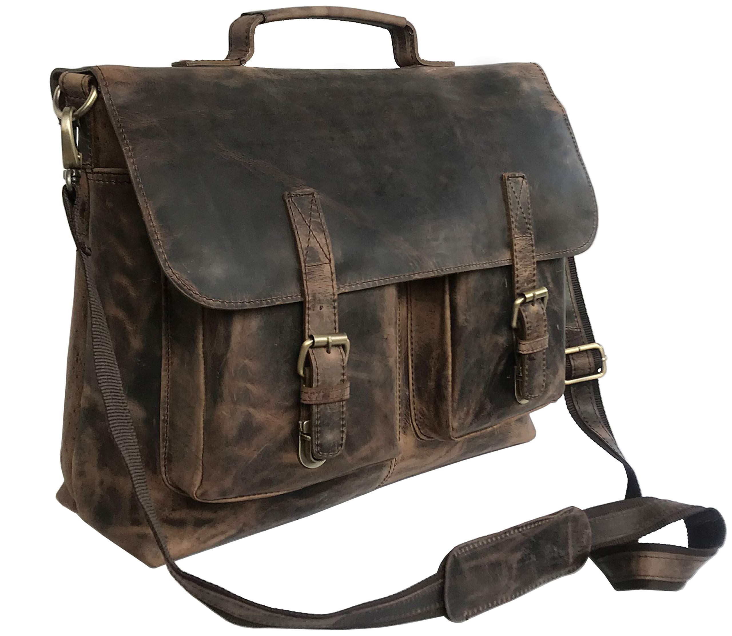 18 Inch Retro Buffalo Hunter Leather Laptop Messenger Bag Office Briefcase College Bag for Men and Women (Vintage Brown 15 inch)