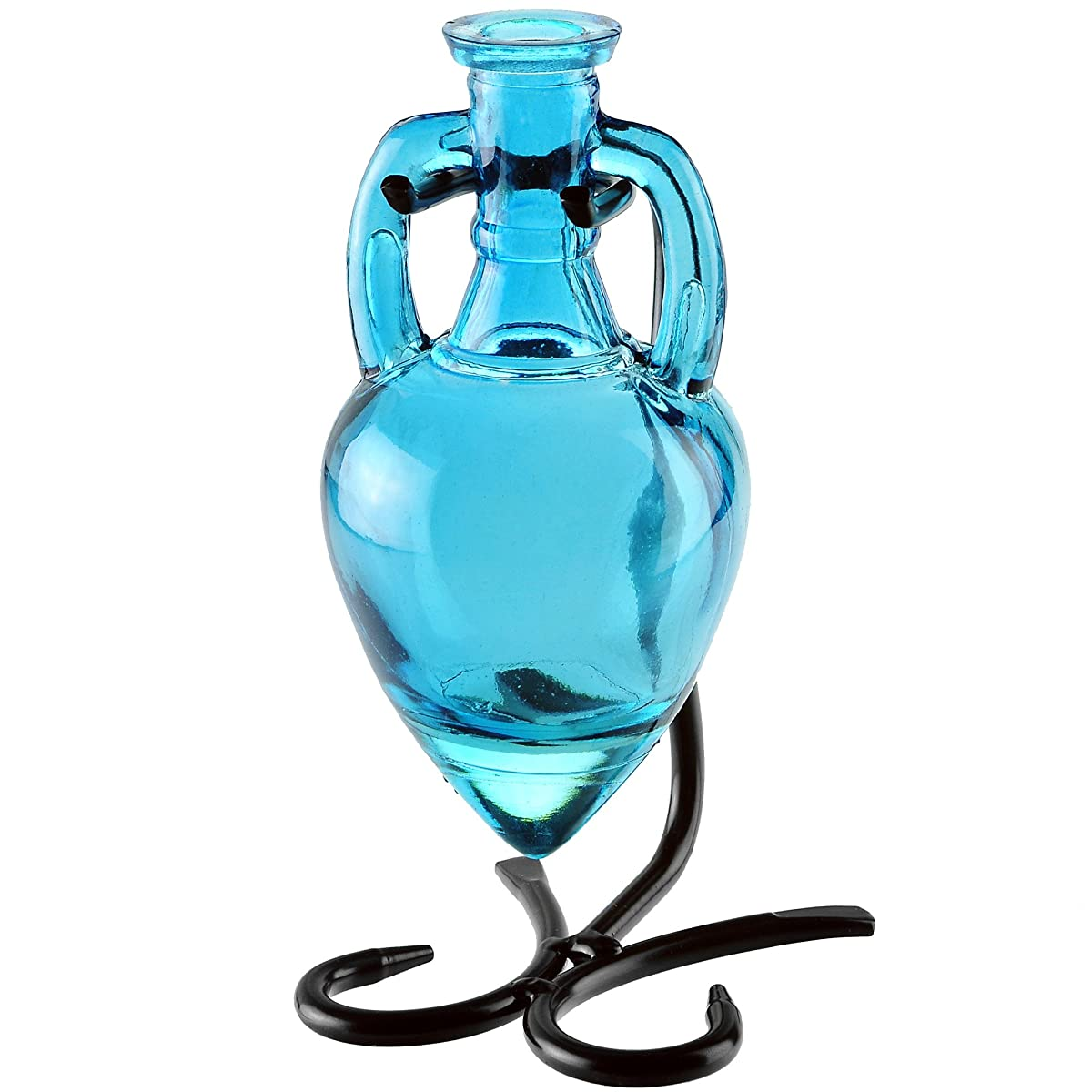 """Couronne Company M405-200-09 Amphora Recycled Glass Vase & Metal Stand, 7"""", Aqua, 1 Piece"""