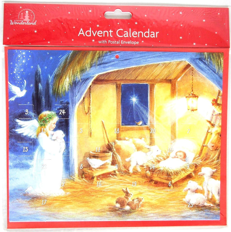 Calendario de Adviento de Navidad tradicional con 24 ventanas para abrir, belén (Ángel)