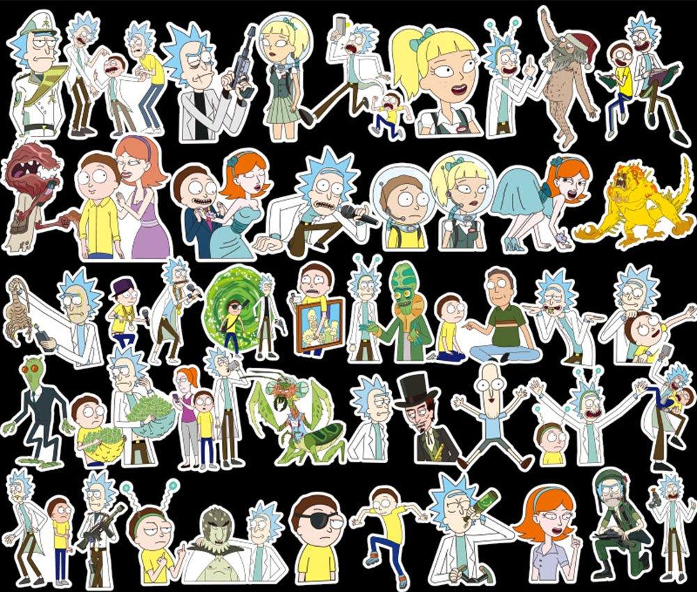 WayOuter Autocollants Stickers Rick et Morty Couleurs Fun pour Smartphone, Auto, Ordinateur, Casque, Skate. (60)