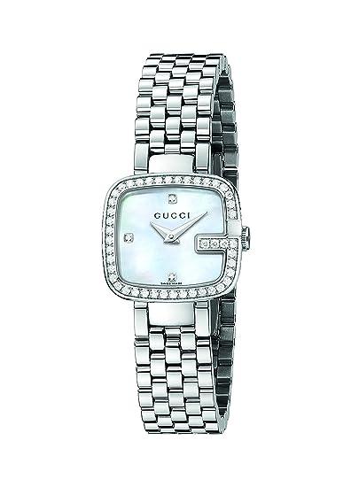 Gucci YA125519 - Reloj de cuarzo para mujer, correa de acero inoxidable color plateado: Amazon.es: Relojes