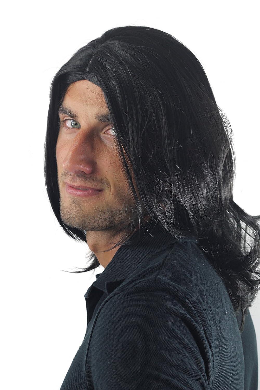 Peluca masculina, pelo largo, juvenil, moderno, negro, raya al medio, estrella de rock, tipo roquero, GFW891-1B: Amazon.es: Belleza