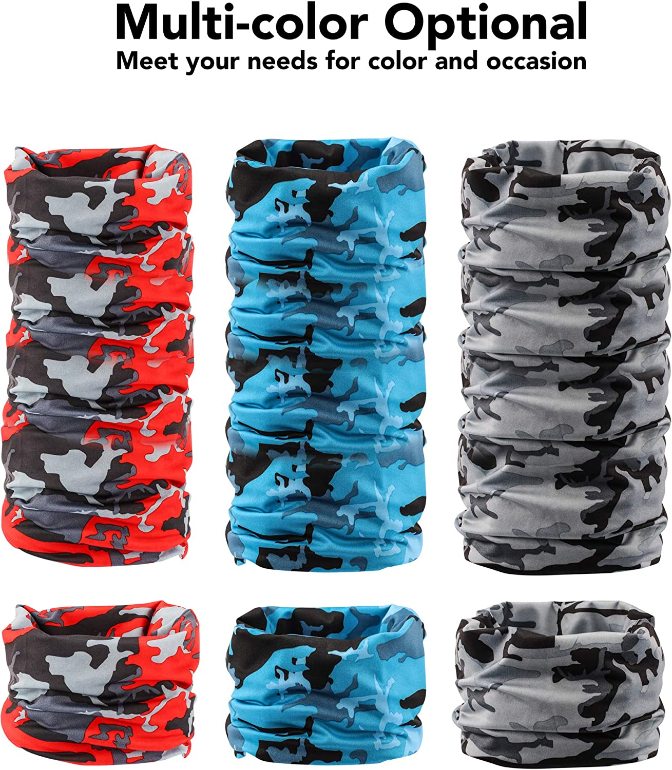 Yemo 4 Pieces Sun UV Protection Face Scarf Cover Mask Neck Gaiter Breathable Bandana Balaclava for Outdoor Fishing Cycling Running
