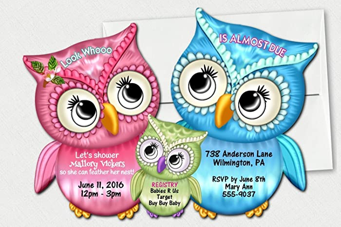 Amazon personalized owl baby shower invitations twin personalized owl baby shower invitations twin invitation boy girl owls invitations filmwisefo
