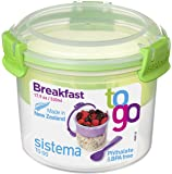 Sistema To Go Collection Breakfast Bowl Food Storage Container, 17.9 Ounce/2.2 Cup, Clear with Assorted Color Accents