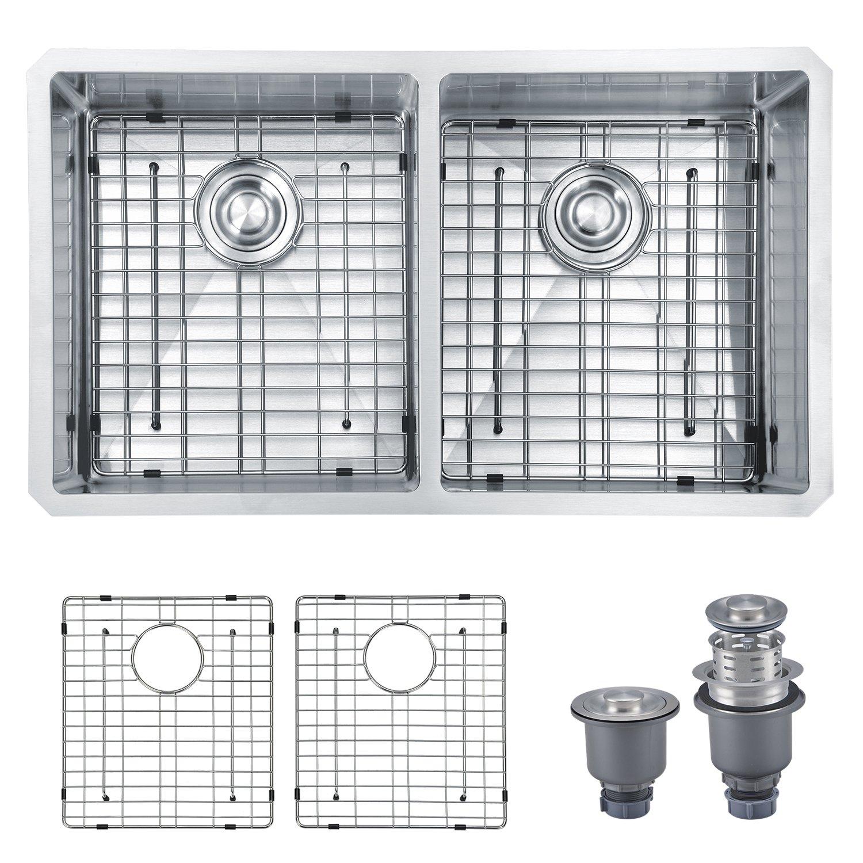 Mowa HKN33DE Pro Series R10 Tight Radius Handmade 33'' 16 Gauge Stainless Steel Undermount 50/50 Equal Double Bowl Modern Kitchen Sink by MOWA