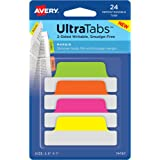 "Avery Margin Ultra Tabs, 2.5"" x 1"", 24 Repositionable Tabs, Two-Side Writable, Pink/Green/Orange (74767)"