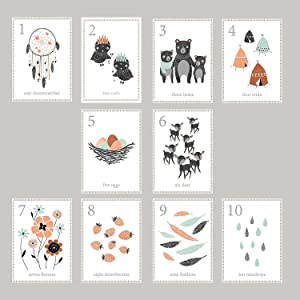 Boho Woodland Number Counting Wall Cards, Set of Ten 5x7 Wall Art Prints, English, Forest Nursery Wall Art Decor, Kid's Art Decor, Gender Neutral Nursery, Nature Themed, Woodland Nursery