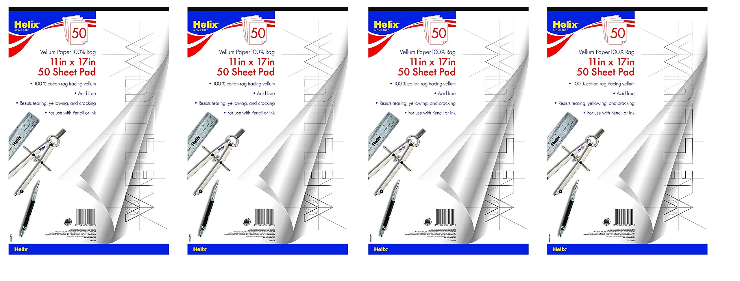 Helix Vellum Paper Pad, 100% Rag, 11 x 17 inch, 50 Sheets (37106) (4-Pack)