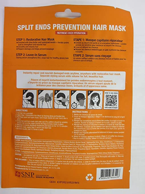 c282f22a6 Amazon.com : Split Ends Prevention Hair Mask, Shea Butter & Keratin, 0.27  fl oz (Pack of 2) : Beauty
