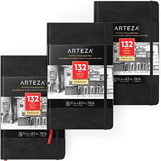 Arteza Libreta de dibujo | 13 x 21 cm | Pack de 3 | 132 páginas x ...