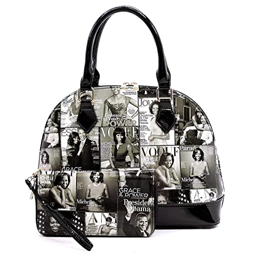 a29ce218a022 Glossy magazine cover collage dome satchel bag purses bowling bag Michelle  Obama bags with wallet set 2 in 1