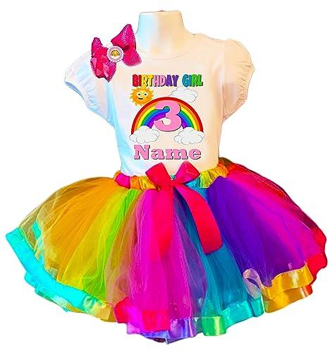 Unicorn Colorful Birthday tutu outfit FREE SHIPPING,rainbow tutu dress,Unicorn birthday tutu outfit,Birthday Girl