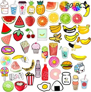 Backpack Pin Set 50 PCS Cartoon Cute Acrylic Plastic Fruit Brooch Pin for Christmas Gifts DIY Hard Aesthetic Lapel Pin for Clothing Bags Accessory Jewelry (A)