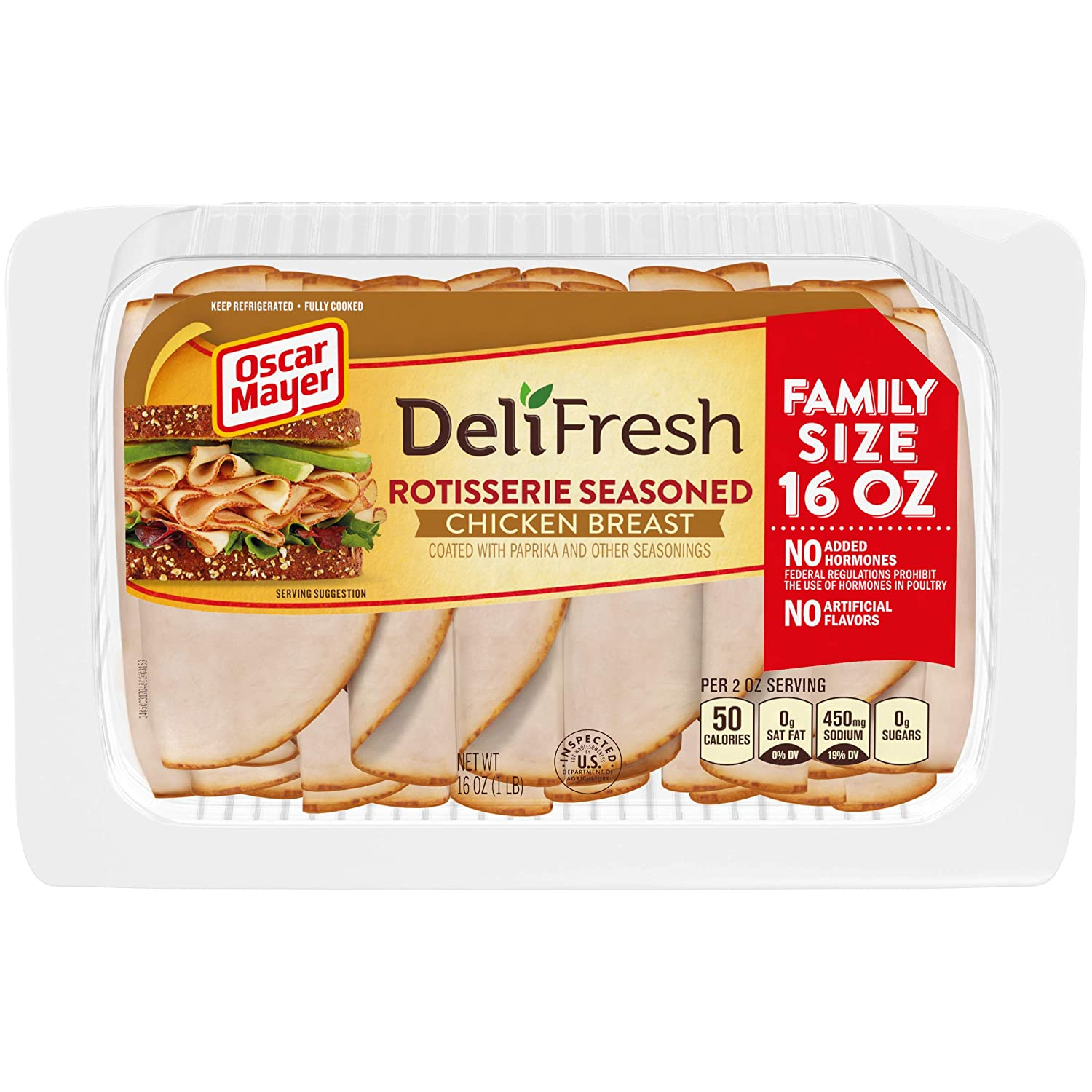 Oscar Mayer Deli Fresh Rotisserie Seasoned Chicken Breast Lunch Meat (16 oz Package)